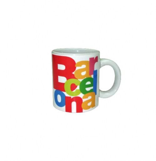 TAZA CAFE BARCELONA LETRAS Blanco | REF: 58-351 | 7€