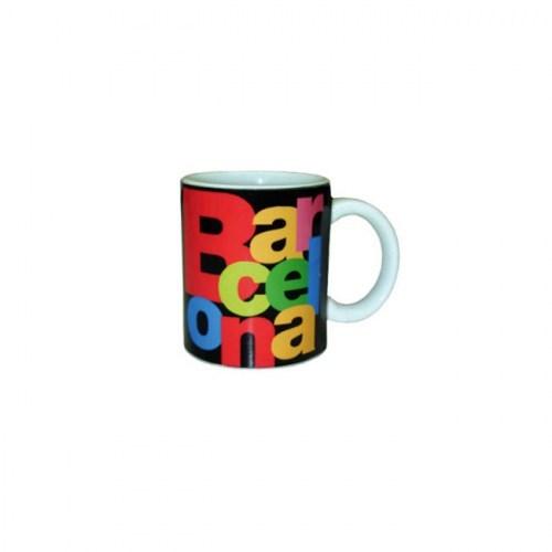 TAZA CAFE BARCELONA LETRAS Negro | REF: 58-356 | 7€