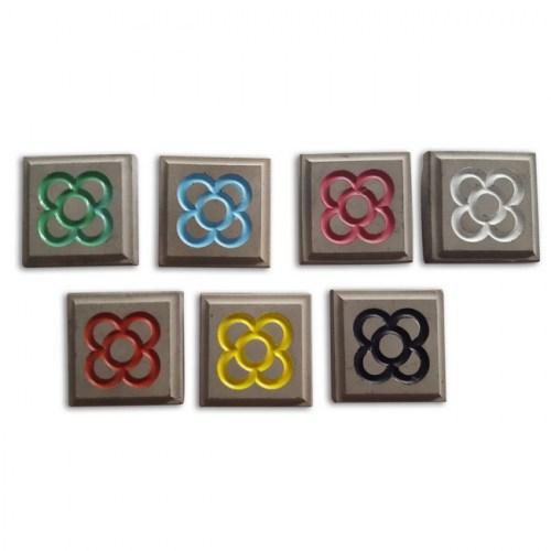 IMÁN BALDOSA FLOR PEQUEÑO COLORES | REF: 1531006 | Blanco | Negro | Amarillo | Rojo | Azul | Verde | Rosa | 3.80€